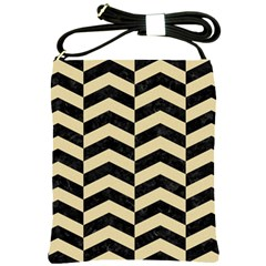 Chevron2 Black Marble & Light Sand Shoulder Sling Bags by trendistuff