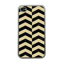 Chevron2 Black Marble & Light Sand Apple Iphone 4 Case (clear) by trendistuff