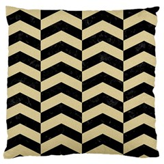 Chevron2 Black Marble & Light Sand Large Cushion Case (two Sides) by trendistuff