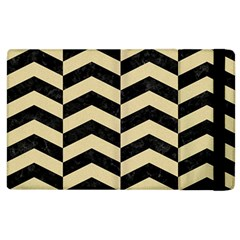 Chevron2 Black Marble & Light Sand Apple Ipad 3/4 Flip Case by trendistuff