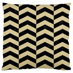 Chevron2 Black Marble & Light Sand Large Flano Cushion Case (two Sides) by trendistuff