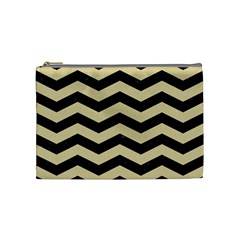 Chevron3 Black Marble & Light Sand Cosmetic Bag (medium)  by trendistuff