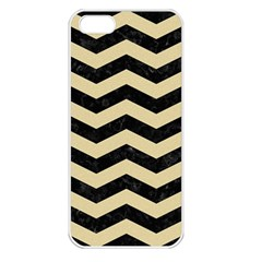Chevron3 Black Marble & Light Sand Apple Iphone 5 Seamless Case (white) by trendistuff