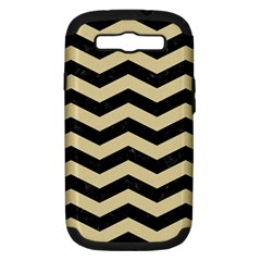 Chevron3 Black Marble & Light Sand Samsung Galaxy S Iii Hardshell Case (pc+silicone) by trendistuff