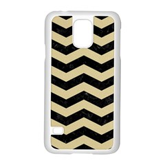 Chevron3 Black Marble & Light Sand Samsung Galaxy S5 Case (white) by trendistuff