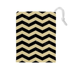 Chevron3 Black Marble & Light Sand Drawstring Pouches (large)  by trendistuff