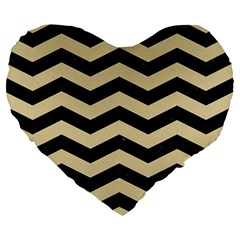 Chevron3 Black Marble & Light Sand Large 19  Premium Flano Heart Shape Cushions by trendistuff