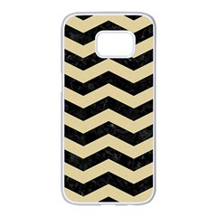 Chevron3 Black Marble & Light Sand Samsung Galaxy S7 Edge White Seamless Case by trendistuff