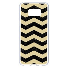 Chevron3 Black Marble & Light Sand Samsung Galaxy S8 Plus White Seamless Case by trendistuff