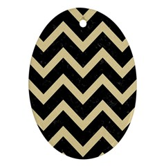 Chevron9 Black Marble & Light Sand Ornament (oval) by trendistuff