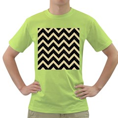 Chevron9 Black Marble & Light Sand Green T Shirt by trendistuff