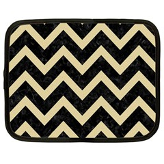 Chevron9 Black Marble & Light Sand Netbook Case (large) by trendistuff