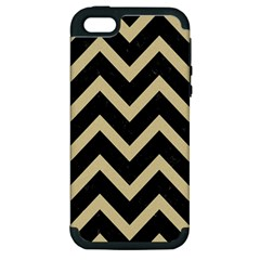 Chevron9 Black Marble & Light Sand Apple Iphone 5 Hardshell Case (pc+silicone) by trendistuff
