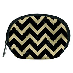 Chevron9 Black Marble & Light Sand Accessory Pouches (medium)  by trendistuff