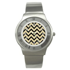 Chevron9 Black Marble & Light Sand (r) Stainless Steel Watch by trendistuff