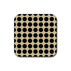Circles1 Black Marble & Light Sand (r) Rubber Square Coaster (4 Pack)  by trendistuff