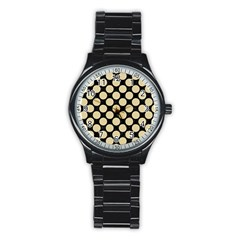 Circles2 Black Marble & Light Sand Stainless Steel Round Watch by trendistuff
