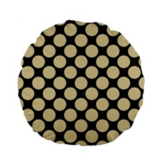 Circles2 Black Marble & Light Sand Standard 15  Premium Flano Round Cushions by trendistuff