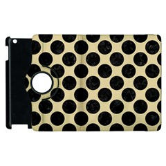 Circles2 Black Marble & Light Sand (r) Apple Ipad 3/4 Flip 360 Case