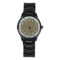 Circles3 Black Marble & Light Sand Stainless Steel Round Watch by trendistuff