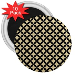 Circles3 Black Marble & Light Sand (r) 3  Magnets (10 Pack)  by trendistuff