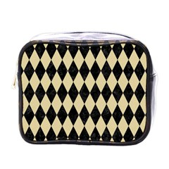 Diamond1 Black Marble & Light Sand Mini Toiletries Bags by trendistuff
