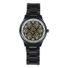 Damask1 Black Marble & Light Sand Stainless Steel Round Watch by trendistuff