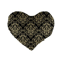Damask1 Black Marble & Light Sand Standard 16  Premium Flano Heart Shape Cushions by trendistuff