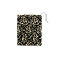 Damask1 Black Marble & Light Sand Drawstring Pouches (xs)