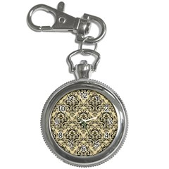 Damask1 Black Marble & Light Sand (r) Key Chain Watches by trendistuff