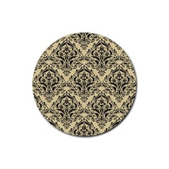 Damask1 Black Marble & Light Sand (r) Rubber Coaster (round)  by trendistuff