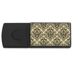 Damask1 Black Marble & Light Sand (r) Rectangular Usb Flash Drive by trendistuff