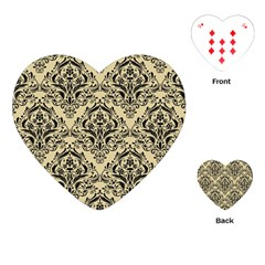 Damask1 Black Marble & Light Sand (r) Playing Cards (heart)  by trendistuff