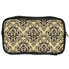 Damask1 Black Marble & Light Sand (r) Toiletries Bags 2 Side by trendistuff
