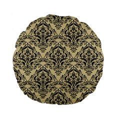 Damask1 Black Marble & Light Sand (r) Standard 15  Premium Flano Round Cushions by trendistuff
