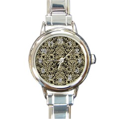 Damask2 Black Marble & Light Sand Round Italian Charm Watch by trendistuff