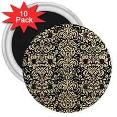 Damask2 Black Marble & Light Sand 3  Magnets (10 Pack)