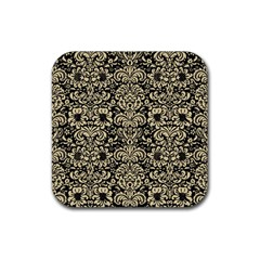 Damask2 Black Marble & Light Sand Rubber Coaster (square)  by trendistuff