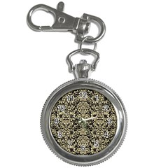 Damask2 Black Marble & Light Sand Key Chain Watches by trendistuff