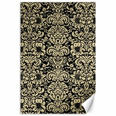 Damask2 Black Marble & Light Sand Canvas 24  X 36  by trendistuff