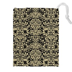 Damask2 Black Marble & Light Sand Drawstring Pouches (xxl) by trendistuff