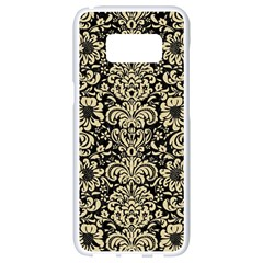 Damask2 Black Marble & Light Sand Samsung Galaxy S8 White Seamless Case by trendistuff