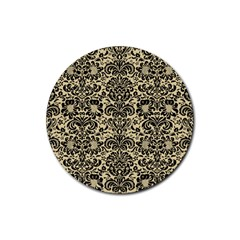 Damask2 Black Marble & Light Sand (r) Rubber Coaster (round)  by trendistuff