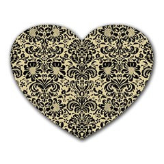 Damask2 Black Marble & Light Sand (r) Heart Mousepads by trendistuff