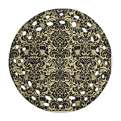Damask2 Black Marble & Light Sand (r) Ornament (round Filigree) by trendistuff