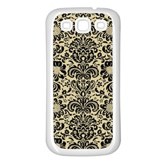 Damask2 Black Marble & Light Sand (r) Samsung Galaxy S3 Back Case (white) by trendistuff