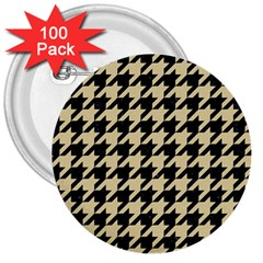 Houndstooth1 Black Marble & Light Sand 3  Buttons (100 Pack)  by trendistuff