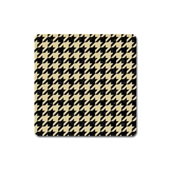Houndstooth1 Black Marble & Light Sand Square Magnet by trendistuff