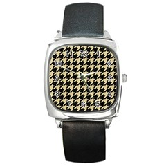 Houndstooth1 Black Marble & Light Sand Square Metal Watch by trendistuff