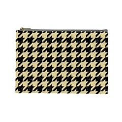 Houndstooth1 Black Marble & Light Sand Cosmetic Bag (large)  by trendistuff